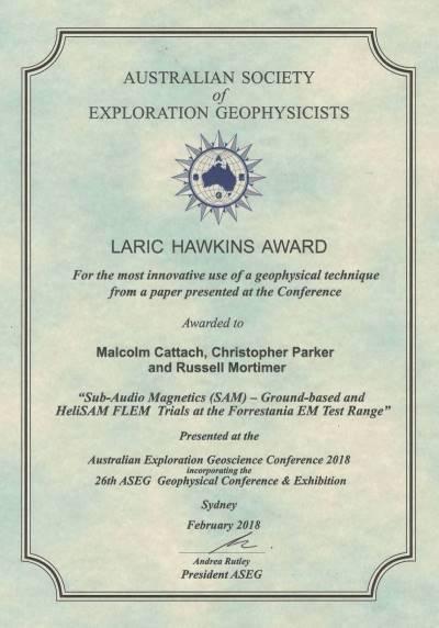 Laric Hawkins Award HeliSAM 2018